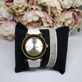 White elegant óra karkötő szett