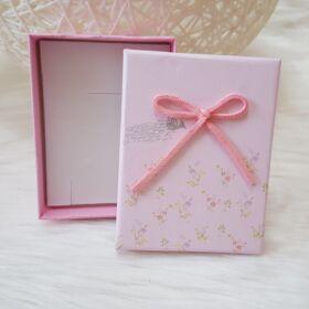 Masnis virág mintás ajándékdoboz karkötőknek 7 x 9 cm rózsaszín