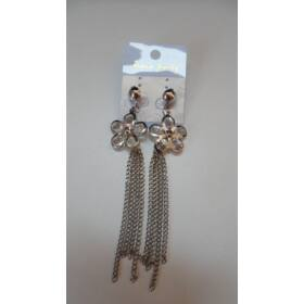 Virágos elegáns lógós fülbevaló ezüst
