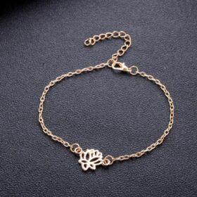 Mandala virág medálos karkötő arany