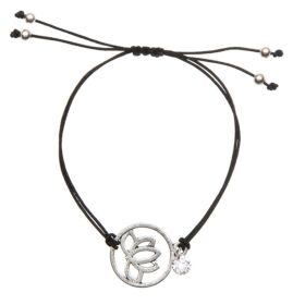 Mandala virág medálos karkötő fekete
