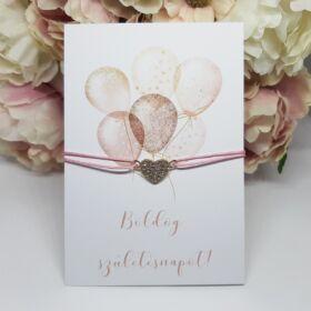 Strasszos szív medálos karkötő születésnapi kísérőkártyával