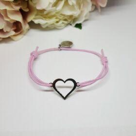 Heart nemesacél női karkötő rózsaszín