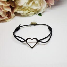 Heart nemesacél női karkötő fekete