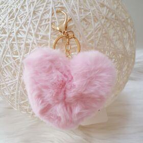 Szivecskés pom pom kulcstartó rózsaszín