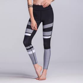 Szürke fekete női leggings, L méret