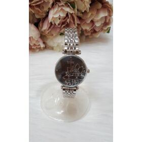 Fém szíjas női óra virág mintával ezüst