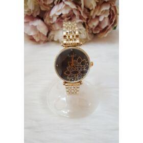 Fém szíjas női óra virág mintával arany
