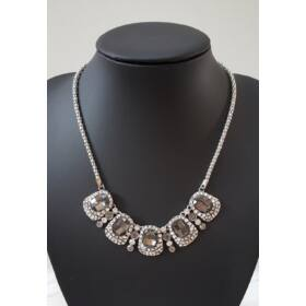 Elegáns strasszköves nyaklánc ezüst szín
