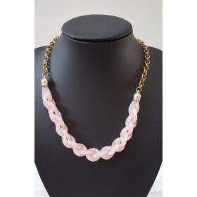 Csavart belül köves láncos nyaklánc rózsaszín