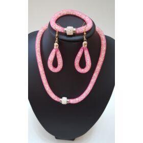 Belül köves nyaklánc karkötő szett fülbevalóval rózsaszín
