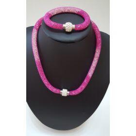Belül köves nyaklánc karkötő szett sötét rózsaszín
