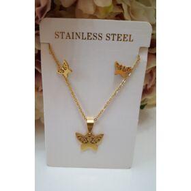 Pillangó medálos nyaklánc fülbevaló szett arany színű