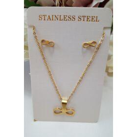 Végtelen jel medálos nyaklánc fülbevaló szett arany színű