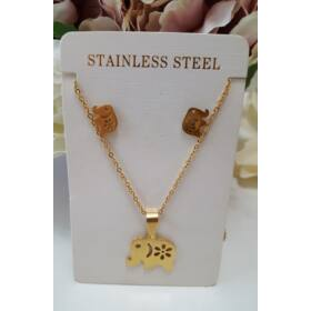 Elefánt medálos nyaklánc fülbevaló szett arany