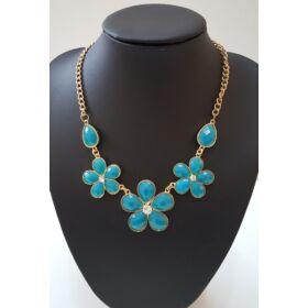 Virág formás nyaklánc, kék