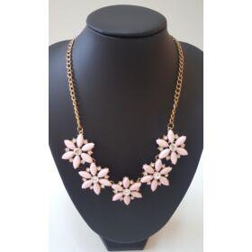 Virág formájú nyaklánc, rózsaszín
