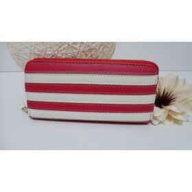 Csíkos női pénztárca piros-fehér