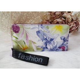 Virág mintás elegáns női pénztárca lila