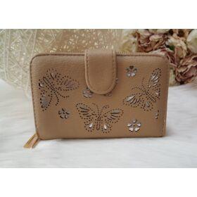 Nyomott pillangó mintás elegáns női pénztárca barna