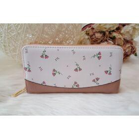 Apró virág mintás elegáns női pénztárca rózsaszín