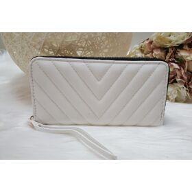 Varrott mintás női pénztárca fehér