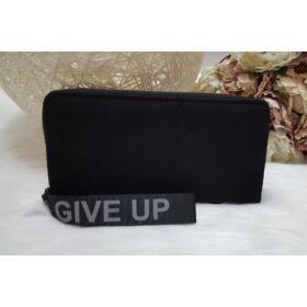 Never give up feliratus egyszínű női pénztárca fekete