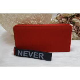 Never give up feliratus egyszínű női pénztárca piros