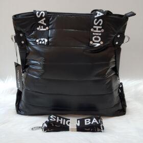 Pufis női válltáska feliratos pánttal fekete