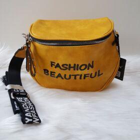 Keresztpántos női táska felirattal sárga