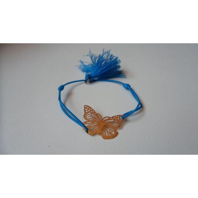 Gumis karkötő, pillangó medállal