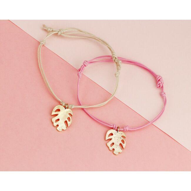 Levél medálos karkötő rózsaszín