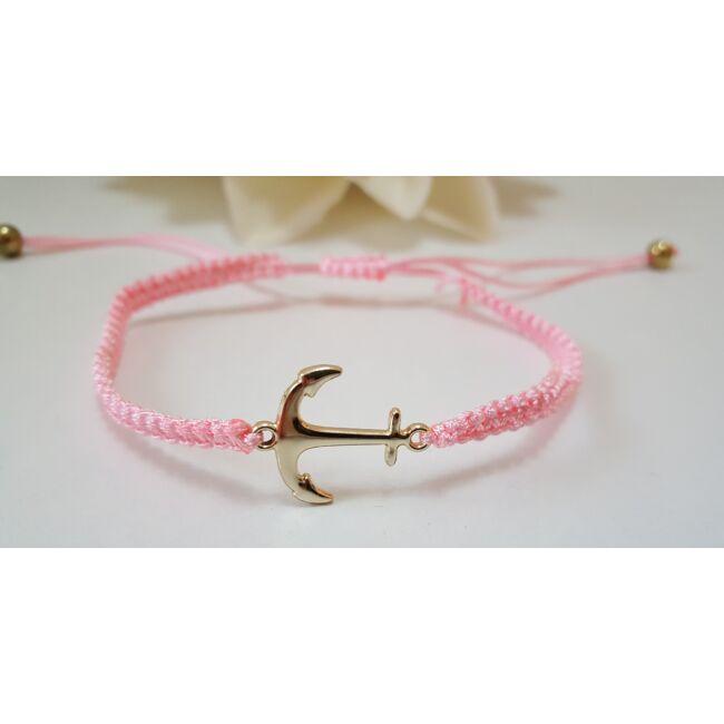 Horgonyos karkötő, rózsaszín