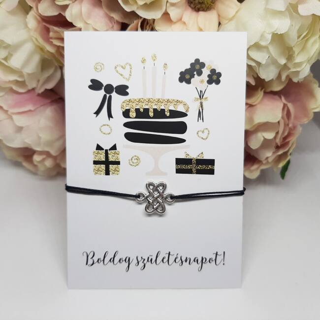 Kínai csomó medálos karkötő születésnapi kísérőkártyával