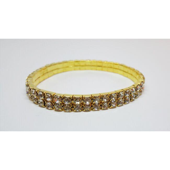 Kétsoros strasszos-gumis karkötő arany színben
