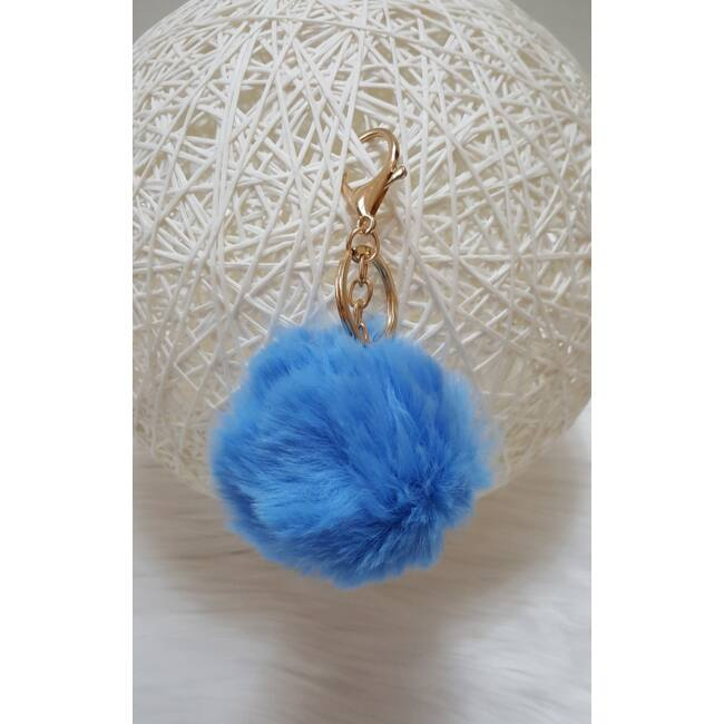 Pom pom kulcstartó kék