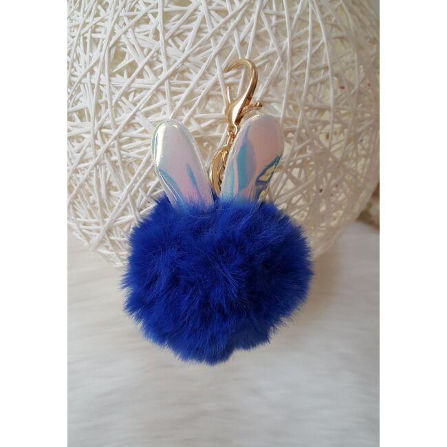 Nyuszifüles pom pom kulcstartó kék