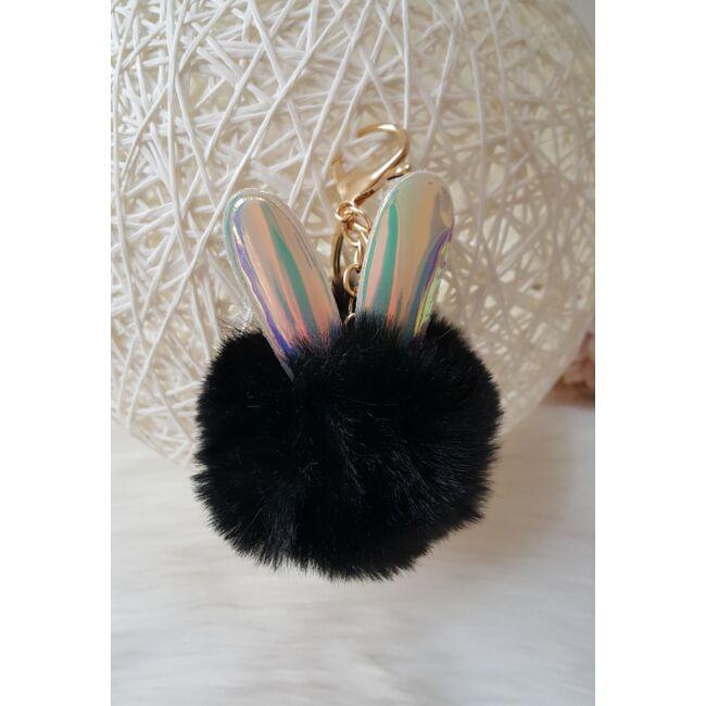 Nyuszifüles pom pom kulcstartó fekete