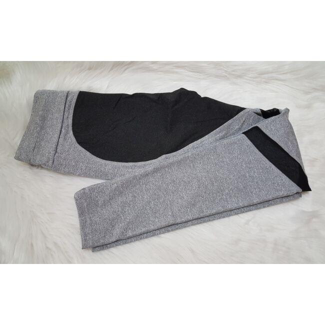 Szürke fekete női leggings, S méret