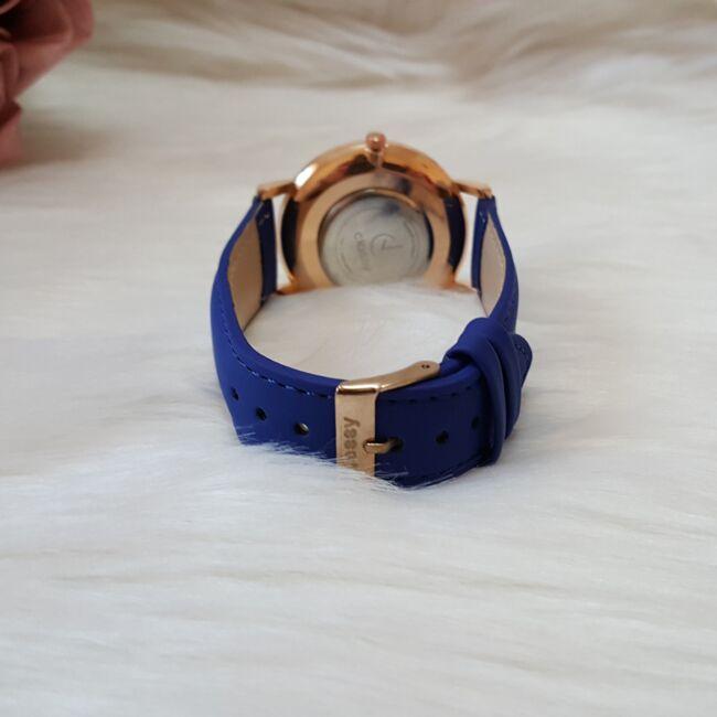Classy elegáns műbőr szíjas női karóra kék