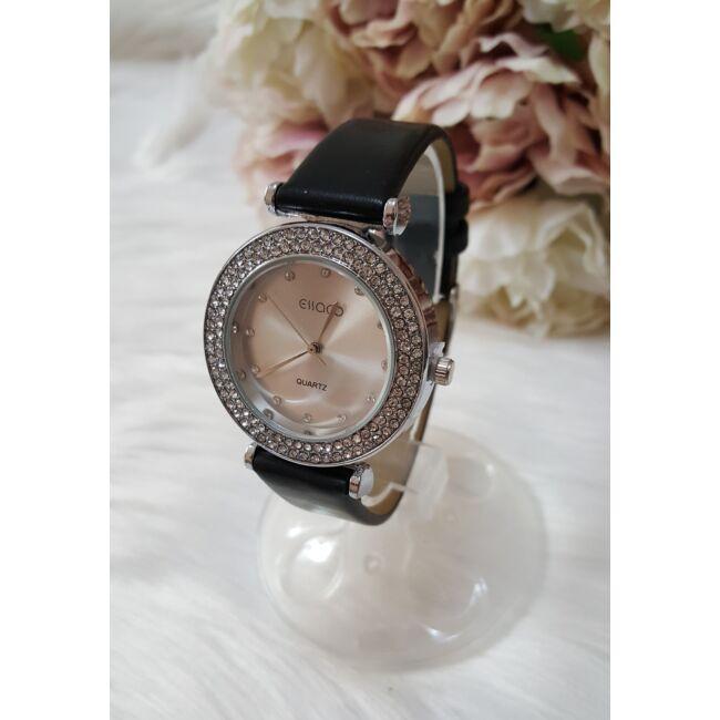 Strasszköves díszítésű elegáns női óra fekete