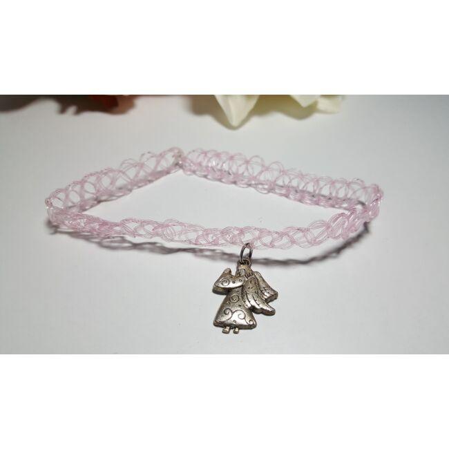 Choker nyaklánc angyal medállal rózsaszín