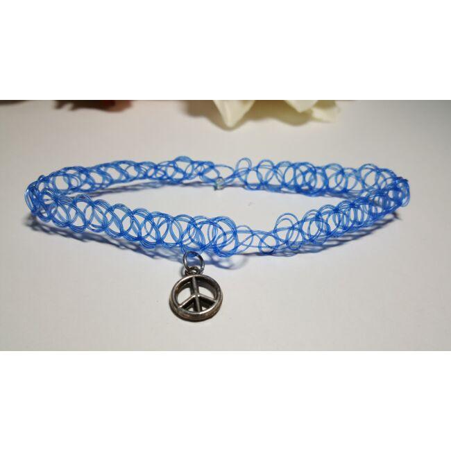 Choker nyaklánc béke medállal kék
