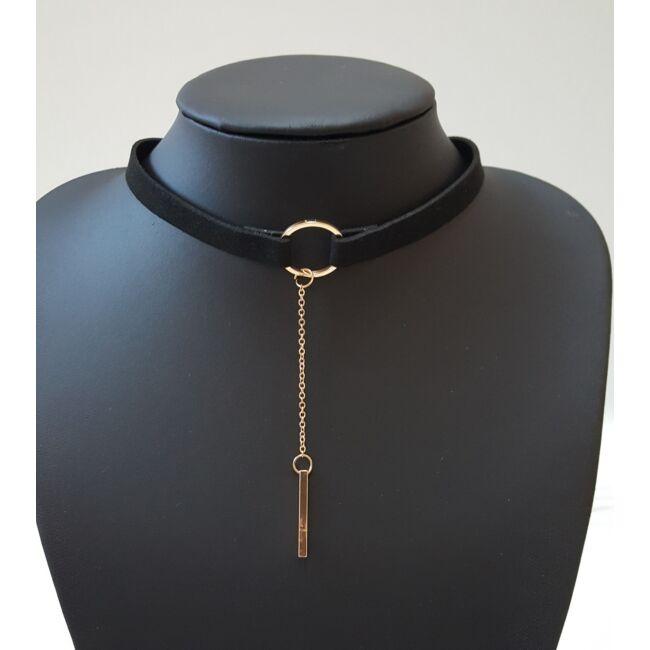 Kör díszes choker nyaklánc fekete