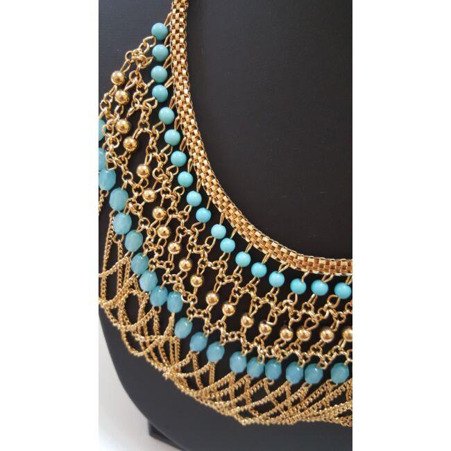 Láncos gyöngyös nyaklánc kék