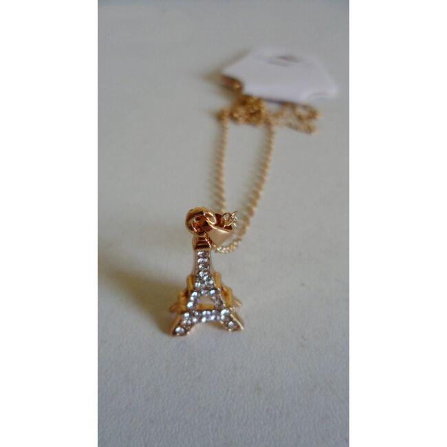 Eiffel torony medálos arany színű nyaklánc, strasszkövekkel díszítve