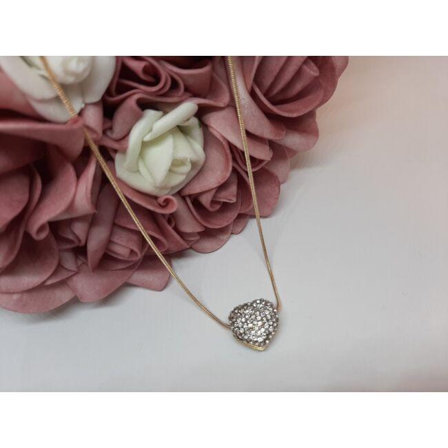 Szív medálos arany színű nyaklánc, strasszkövekkel díszítve