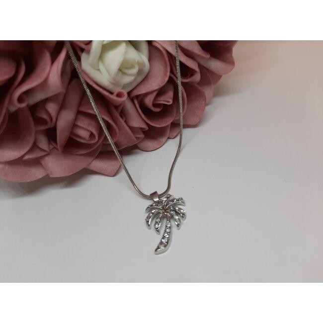Pálmafa medálos ezüst színű nyaklánc, strasszkövekkel díszítve