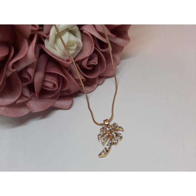 Pálmafa medálos arany színű nyaklánc, strasszkövekkel díszítve