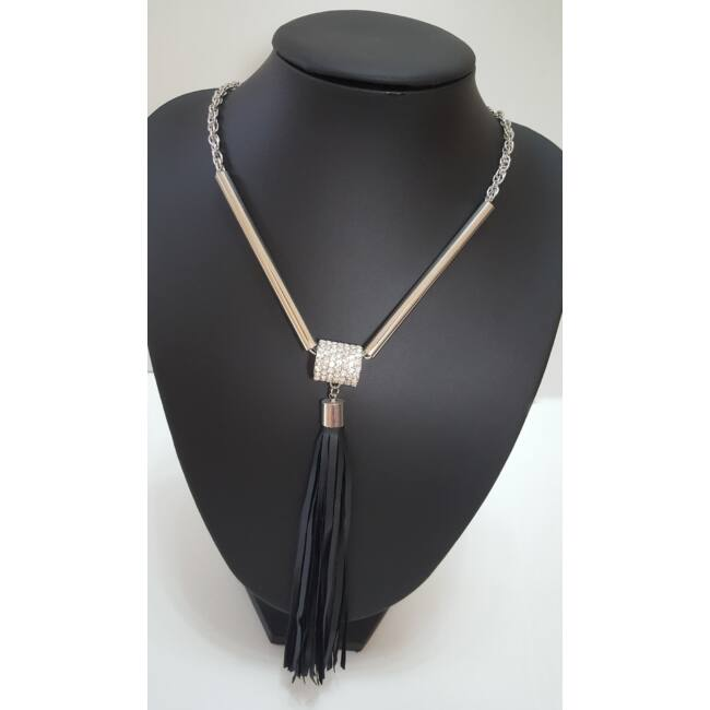 Bojtos strasszköves hosszú láncú nyaklánc